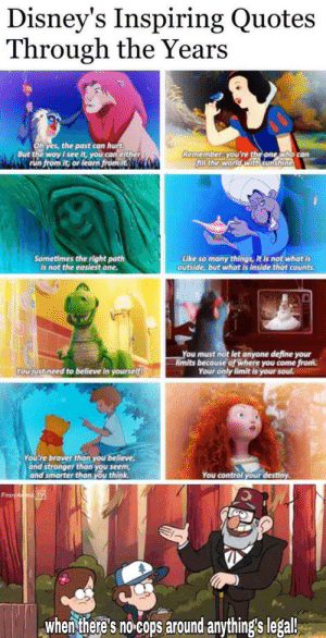 Dank, Destiny, and Memes: Disney's Inspiring Quotes  Through the Years  Ohyes, the past can hurt  But the way see it, you can either  run from it, or learn from it  Rememberayou're the one who can  fill the world with sunshine  Sometimes the right path  is not the easiest one.  Like so many things, it is not what is  outside,but what is inside that counts  You must not let anyone define your  limits because of where you come from.  Your only limit is your soul.  You fust need to believe in yourself!  You're braver than you believe  and stronger than you seem  and smarter than you think  You control your destiny  Pinay AmeTy  When there's no cops around anything's legal good old Stanley by dr_sussss MORE MEMES