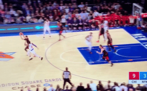 Zach LaVine's bounce is different🔥 https://t.co/7sGyEx7y3E: DISON SOUARE GARDE  CHA SE O  CHI  NYK  3 Zach LaVine's bounce is different🔥 https://t.co/7sGyEx7y3E