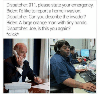 Orange, Girl Memes, and Biden: Dispatcher 911, please state your emergency.  Biden: I'd like to report a home invasion.  Dispatcher Can you describe the invader?  Biden: A large orange man with tiny hands.  Dispatcher Joe, is this you again?  *click* https://t.co/5awlAlH6JV