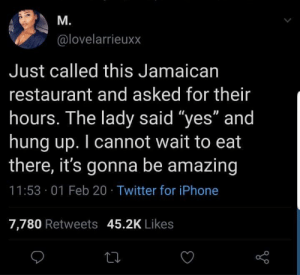 Disrespect is a must at a Jamaican restaurant: Disrespect is a must at a Jamaican restaurant