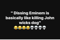 "Eminem, Dissing, and Dog: ""Dissing Eminem is  basically like killing John  wicks dog"" Do y'all agree? 🎶🤔 @Eminem https://t.co/gTUJU0iNcD"