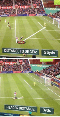 This will always be funny https://t.co/I6ce1ho4EZ: DISTANCE TO DE GEA: 25yd:s  C-25   HEADER DISTANCE:3yds  LEICESTER CITY This will always be funny https://t.co/I6ce1ho4EZ