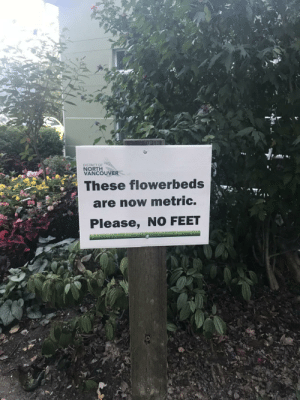 Funny, Vancouver, and Feet: DISTRICT OF  NORTH  VANCOUVER  These flowerbeds  are now metric.  Please, NO FEET Local city sign with a bit of humour via /r/funny https://ift.tt/2oYFkeL