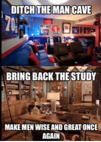 Making America very smart again: DITCH THE MAN CAVE  BRING BACK THE STUDY  MAKE MEN WISE AND GREAT ONCE  AGAIN Making America very smart again