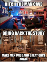 Girls, Memes, and Library: DITCH THE MAN CAVE  BRING BACK THE STUDY  MAKE MEN WISE AND GREAT ONCE Maybe we could do a library/gun room? Reading room for gun guys and girls! Whatcha think?  Patrick James