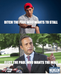 Help Meme: DITCH THE PAULWHO WANTS TO STALL  ELECT THE PAUL WHO WANTS THE WALL  NEHLEN  FOR CONGRESS