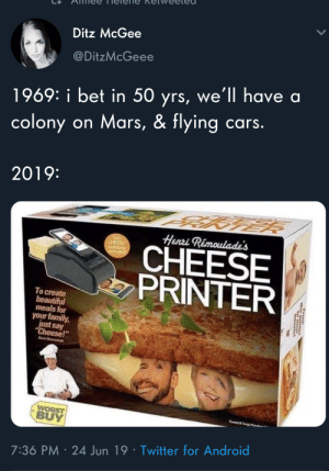 "Meirl: Ditz McGee  @DitzMcGeee  1969: i bet in 50 yrs, we'll have a  colony on Mars, & flying cars.  2019:  Henri Rémoulade's  SAY  CHEESE  CHEESE  PRINTER  induded  To create  beautiful  meals for  your family,  just say  ""Cheese!  Hen R  WORST  BUY  e&y  7:36 PM 24 Jun 19 Twitter for Android  rom Meirl"