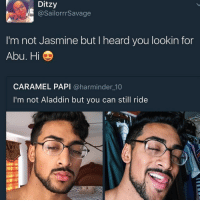 Aladdin, Blackpeopletwitter, and Can: Ditzy  @SailorrrSavage  I'm not Jasmine but I heard you lookin for  Abu. Hi  CARAMEL PAPI @harminder 10  I'm not Aladdin but you can still ride <p>Shining, shimmering, splendid (via /r/BlackPeopleTwitter)</p>