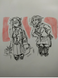 Target, Tumblr, and Blog: diurnaldaysart:  nyotalia usuk with suit jackets and skirts? hell ya watercolor markers and ballpoint pen on mixed media paper
