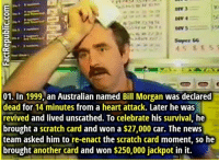 Lucky dude: DIV 4  Soper &6  45 85 5  01. In 1999, an Australian named Bill Morgan was declared  dead for 14 minutes from a heart attack. Later he was  revived and lived unscathed. To celebrate his survival, he  brought a scratch card and won a $27,000 car. The news  team asked him to re-enact the scratch card moment, so he  brought another card and won $250,000 jackpot in it. Lucky dude