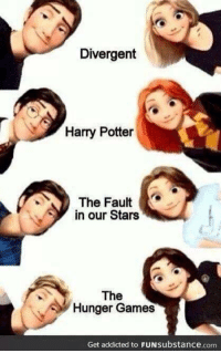 😍😍: Divergent  Harry Potter  The Fault  SY in our Stars  The  Hunger Games  Get addicted to FUNsubstance.com. 😍😍