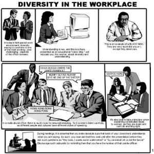"Cars, Dumb, and The Office: DIVERSITY IN THE WORKPLACE  In today's fast-paced work  environment, diversity  among cO-WOrkers is one  of the most exciting and  challenging aspects  of the office dynamic  Understanding is key, and this brochure  presented as an educational ""comic strip,"" will  educate you, the worker, about diversity and  This is an example of a BLACK MAN  They are very much like you or I,  except they steal cars.  understanding.  OOGA BOOGA WHERE THE  MATH IS HARD  BLIMEY GUVNA PLEASE  GIVE ME ONE UP THE SHITTER  NONG NONG BONG  DONG FONG  It's also best to take extra time when  explaining complicated ideas  to women, as they are dumb and  In a multicultural office, there is much room for misunderstanding. So it is best to listen carefully  as different people and cultures have different styles of speaking  cant do anything right  During meetings, it is essential that you make absolute sure that each of your coworkers understands  what you are saying. As such, you must ask that they wait until after the presentation before they  ask such questions as ""Hey boss, I wants some watermelon!"" or ""Ay caramba! Let us eat the tacos!""  Discourage such outbursts by reminding them that you have the number of their parole officer"
