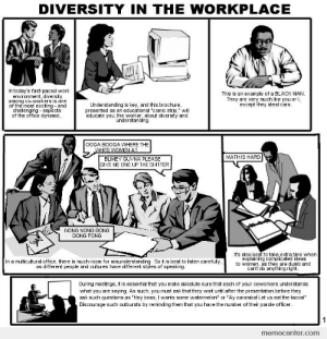 "A little edgy, a little true, a little funny: DIVERSITY IN THE WORKPLACE  In today's fast-paced work  environment, diversity  among co-workers is one  of the most exciting and  challenging aspects  of the office dynamic  This is an example of a BLACK MAN  They are very much like you or I,  except they steal cars.  Understanding is key, and this brochure,  presented as an educational ""comic strip,"" will  educate you, the worker, about diversity and  understanding  0OGA BOOGA WHERE THE  WHITE WOMEN AT  BLIMEY GUVNA PLEASE  GIVE ME ONE UP THE SHITTER  MATH IS HARD  NONG NONG BONG  DONG FONG  It's also best to take extra time when  explaining complicated ideas  to women, as they are dumb and  can't do anything right  In a multicultural office, there is much room for misunderstanding. So it is best to listen carefully,  as different people and cultures have different styles of speaking  During meetings, it is essential that you make absolute sure that each of your coworkers understands  what you are saying.. As such, you must ask that they wait until after the presentation before they  ask such questions as ""Hey boss, I wants some watermelon!"" or ""Ay caramba! Let us eat the tacos!""  Discourage such outbursts by reminding them that you have the number of their parole officer  1  memecenter.com A little edgy, a little true, a little funny"
