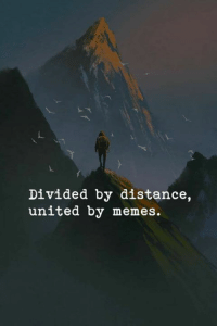 United: Divided by distance,  united by memes.