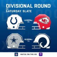 The Divisional Round is HERE! #NFLPlayoffs https://t.co/mulKHKdlv5: DIVISIONAL ROUND  SATURDAY SLATE  4:35PMET  NBC  8:15PMET  FOX  NFLWATCH ON -THE-GO  YAHOO! The Divisional Round is HERE! #NFLPlayoffs https://t.co/mulKHKdlv5