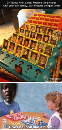 Bitch, Family, and Game: DIY Guess Who? game: Replace the pictures  with your own family. Just imagine the questions!  0  @1000LifeHacks  1000LifeHacks.com   MB  Does he look like a bitch? <p>Reemplaza las caras del ¿quién es quién? por gente de tu familia.</p><p>Imagina las <strike>posibilidades </strike>preguntas.<br/></p>