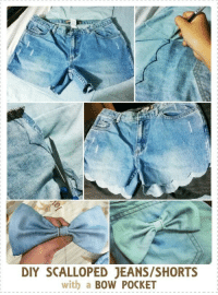 DIY SCALLOPED JEANS/SHORTS  with a  BOW POCKET scalloped jeans shorts with a bow DIY
