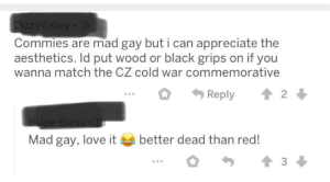 Communism and homosexuality bad. Seen on a post about a custom pistol with a hammer and sickle on it: DizzyValley 1h  Commies are mad gay but i can appreciate the  aesthetics. Id put wood or black grips on if you  wanna match the CZ cold war commemorative  Reply  2  Blaze-Bless  Mad gay, love it  better dead than red! Communism and homosexuality bad. Seen on a post about a custom pistol with a hammer and sickle on it