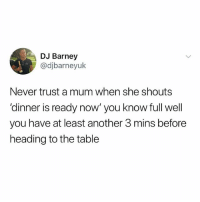 Barney, Memes, and True: DJ Barney  @djbarneyuk  Never trust a mum when she shouts  'dinner is ready now' you know full well  you have at least another 3 mins before  heading to the table True