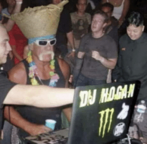 Kim Jong and Mark Zuckerberg watching DJ Hulk Hogan perform, 2006: DJ HOGAN Kim Jong and Mark Zuckerberg watching DJ Hulk Hogan perform, 2006