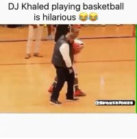 DJ Khaled, Sports, and Khaled: DJ Khaled playing basketball  is hilarious  CSPORTSDORES Lol and another 1.. 😂 hahaa DoubleTap if u like music Tag friends for a laugh lol