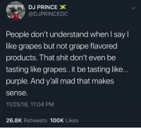 Prince, Shit, and Purple: DJ PRINCE  @DJPRINCEDC  People don't understand when l say l  like grapes but not grape flavored  products. That shit don't even be  tasting like grapes..it be tasting like..  purple. And y'all mad that makes  sense.  11/25/18, 11:04 PM  26.8K Retweets 100K Likes He has a point.. 🤔 https://t.co/urm1jVKCXf