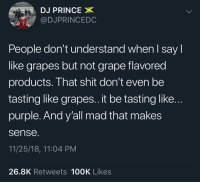 Nasty, Prince, and Shit: DJ PRINCE  @DJPRINCEDC  People don't understand when l say l  like grapes but not grape flavored  products. That shit don't even be  tasting like grapes.. it be tasting like..  purple. And y'all mad that makes  sense  11/25/18, 11:04 PM  26.8K Retweets 100K Likes Purple really be tasting nasty sometimes