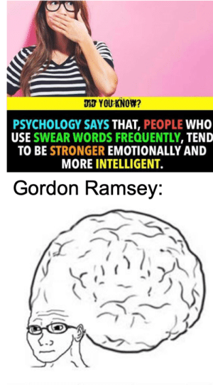 Damn thas right: DJ YOU KNOW?  PSYCHOLOGY SAYS THAT, PEOPLE WHO  USE SWEAR WORDS FREQUENTLY, TEND  TO BE STRONGER EMOTIONALLY AND  MORE INTELLIGENT.  Gordon Ramsey: Damn thas right