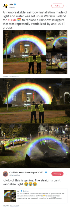 "dkpsyhog: Homophobes: *try to destroy rainbow statue* Gays: ""fine then we'll make it an actual damn rainbow"" Reblog to put indestructible rainbows everywhere and kill a homophobe  : dkpsyhog: Homophobes: *try to destroy rainbow statue* Gays: ""fine then we'll make it an actual damn rainbow"" Reblog to put indestructible rainbows everywhere and kill a homophobe"