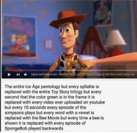 Bee Movie, The Simpsons, and SpongeBob: Dl 3836194794999143 9999997830133 12790 33107 36635 159219497565214  The entire Ice Age pentology but every syllable is  replaced with the entire Toy Story trilogy but every  second that the color green is in the frame it is  replaced with every video ever uploaded on youtube  but every 10 seconds every episode of the  Simpsons plays but every word with a vowel is  replaced with the Bee Movie but every time a bee is  shown it is replaced with every episode of  SpongeBob played backwards *cracks fingers, leans back, and kicks feet up* https://t.co/cX2dfFJdfi
