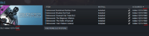 Arsenal, Butcher, and Rat: DLC  ITEM  DLC  INSTALL  ACQUIRED  Dishonored Backstreet Butcher Pack  Installed  Added 12/31/1969  DISHONORED  Dishonored Shadow Rat Pack  Installed  Added 12/31/1969  Dishonored: Dunwall City Trials DLC  IDishonored: The Brigmore Witches  Dishonored: The Knife of Dunwall  Dishonored: Void Walkers Arsenal  DUNWALE CITY TRIALS  Installed  Added 12/31/1969  Installed  Added 12/31/1969  Installed  Added 12/31/1969  Installed  Added 12/31/1969  DLC  Added 12/31/1969  FIND MORE DLC IN STORE The Year...
