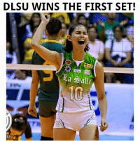 Match, Volleyball, and Filipino (Language): DLSU WINS THE FIRST SET!  la Salle  ES LA SALLE WINS THE FIRST SET! Tight match we are seeing. 29-27.