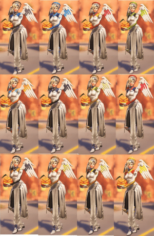 dm0n:  All of the OWL away skins currently on PTR! (feat. pumpkin victory pose to show the sleeve better): dm0n:  All of the OWL away skins currently on PTR! (feat. pumpkin victory pose to show the sleeve better)