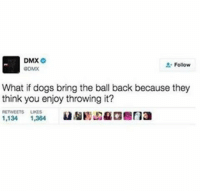 Dmx, Dogs, and Memes: DMX  O  Follow  ODMX  What if dogs bring the ball back because they  think you enjoy throwing it?  RETWEETS LIKES  1,134  1,364 Imagine 😂