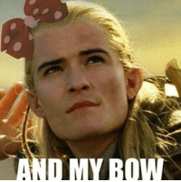 DMY BOW Oh my lordy its my last day at school and I think I am just going to post something every period lotr legolas meme bow funny 1stperiod