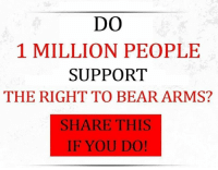 DO  1 MILLION PEOPLE  SUPPORT  THE RIGHT TO BEAR ARMS?  SHARE THIS  IF YOU DO!