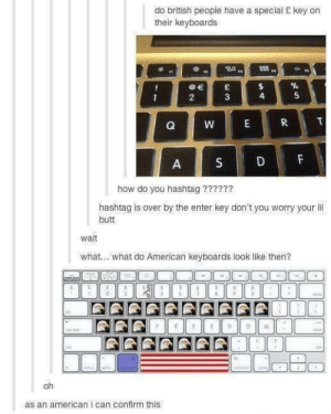 Butt, American, and British: do british people have a special S key on  their keyboards  838 .  2  how do you hashtag ?77???  hashtag is over by the enter key don't you worry your il  butt  wait  what... what do American keyboards look like then?  oh  as an american i can confirm this I'm typing this on my freedomboard