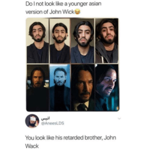 Asian, John Wick, and Retarded: Do I not look like a younger asian  version of John Wick  انيس  @AneesLDS  You look like his retarded brother, John  Wack You aren't breathtaking!