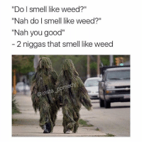 "Bros in real life...: ""Do I smell like weed?""  ""Nah do I smell like weed?""  ""Nah you good""  2 niggas that smell like weed  Come  @insta Bros in real life..."