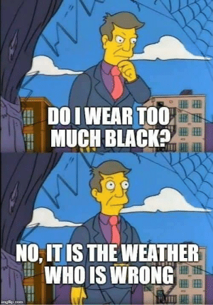 I Wear: DO I WEAR T00,  MUCH BLACK  NO, IT IS THE WEATHER  WHO IS WRONG  IP