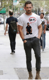 Sad Shia LaBeouf wearing a Shia LaBeouf T-Shirt: DO IT. Sad Shia LaBeouf wearing a Shia LaBeouf T-Shirt