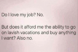 Love, Ability, and Job: Do l love my job? No.  But does it afford me the ability to go  on lavish vacations and buy anything  I want? Also no.