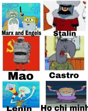 SpongeBob, Mao, and Ho Chi Minh: Do  Marx and Engels  alin  Mao Castro  shalf no  Lenin Ho chi minh Commies portrayed by Spongebob