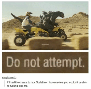 Godzilla racing: Do not amemgt  Do not attempt  gicmazzic  If I had the chance to race Godzilla on four-wheelers you wouldn't be able  to fucking stop me. Godzilla racing