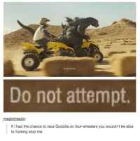 Godzilla: Do not attempt  Do not attempt  magicmazzic:  If I had the chance to race Godzilla on four-wheelers you wouldn't be able  to fucking stop me.