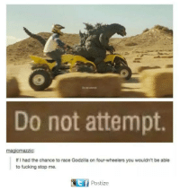 Dank, Fucking, and Godzilla: Do not attempt.  magicmazzic:  If I had the chance to race Godzilla on four-wheelers you wouldn't be able  to fucking stop me.  Postize