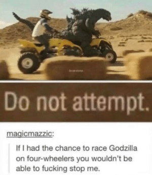 Dank, Fucking, and Godzilla: Do not attempt.  magicmazzIC:  If I had the chance to race Godzilla  on four-wheelers you wouldn't be  able to fucking stop me. Do Not Attempt by ahijazi73 MORE MEMES