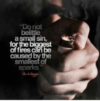 "Fire, God, and Memes: ""Do not  belitle  a small sin,  for the biggest  offires can be  caused by the  smallest of  sparks""  Ibn al-QayviM  SR ""Do not belittle a small sin, for the biggest of fires can be caused by the smallest of sparks."" - Ibn al-Qayyim [Al-Fawaa'id, 3-227] small sins spark fire Allah Allahuakbar Alhamdulillah islam islamic instaislam inshallah muslim muslimah quran pray prayer salah sunnah deen dawah faith god hijab hijabi halal hadith jannah silentrepenter silent_repenter sr"