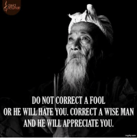 Do Not Correct A Fool: DO NOT CORRECT A FOOL  OR HE WILL HATE YOU. CORRECT A WISE MAN  AND HE WILL APPRECIATE YOU