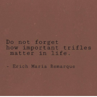 Life, How, and Matter: Do not forget  how important trifles  matter in life  - Erich Maria Remarque